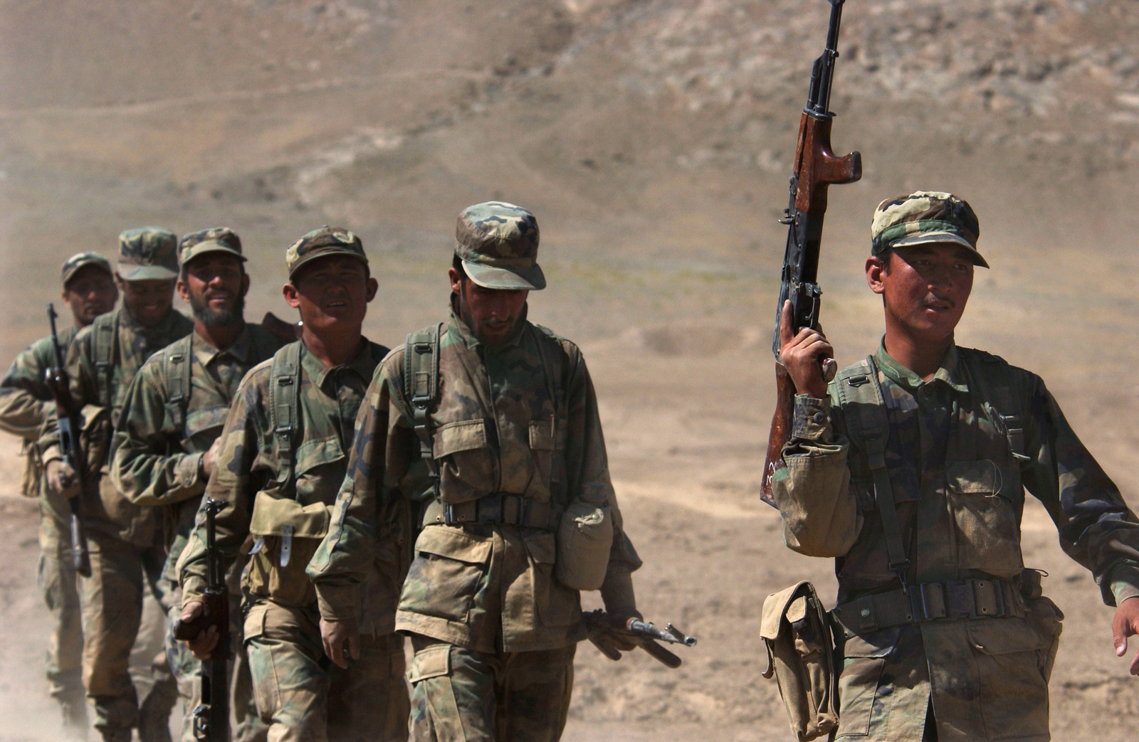 New Recruits assigned to the 1ST Battalion of the Afghanistan National Army (ANA), armed with 7.62