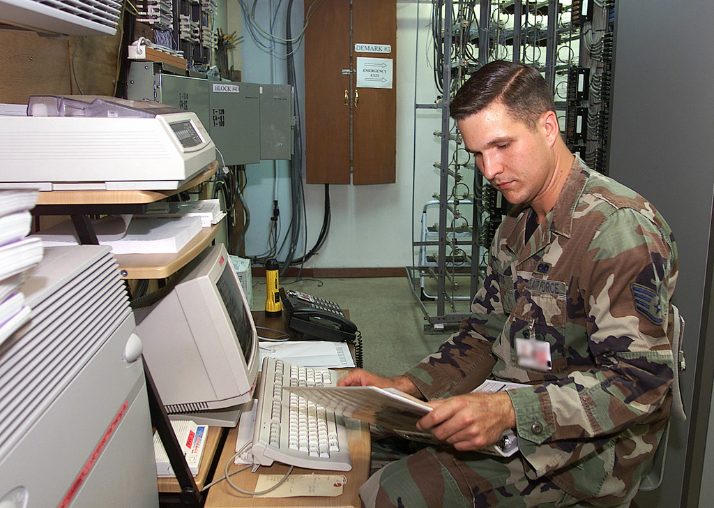 US Air Force (USAF) STAFF Sergeant (SSGT) William Catts, Communication Maintenance Technician assigned to the 831st Munitions Support Squadron (MSS), traces a phone line at Ghedi Air Base (AB), Italy