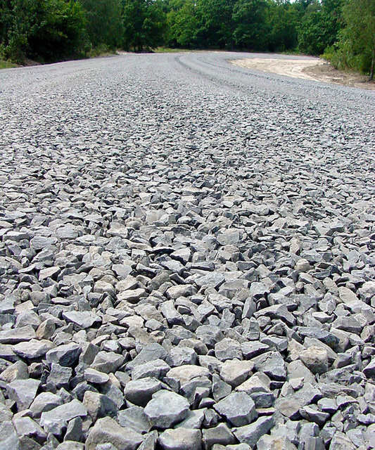 View of a newly widened stone road located on the Friedberg Local Training Area