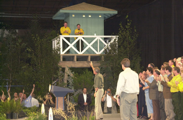 President George Bush appearing at the Jackson County Fairgrounds, Central Point, Oregon, for address on the Healthy Forests Initiative and environmental policy, following his visit to the site of the Squire Peak forest fire
