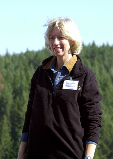 Photograph, from coverage of Secretary's visit to northwest Oregon in wake of President's announcement of Healthy Forests Initiative, selected for use in preparation of Department of Interior video on tenure of departing Secretary Gale Norton