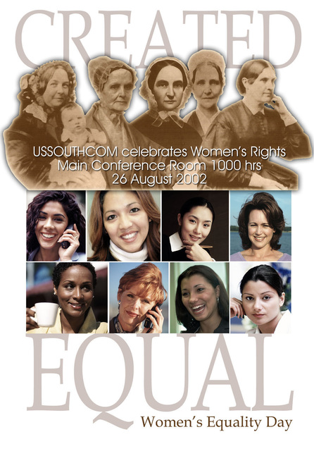 Poster art created for a ceremony held at Headquarters US Southern Command (USSOUTHCOM) to celebrate Women's Equality Day. Created by Charles E. Curtis III, CIV, USA