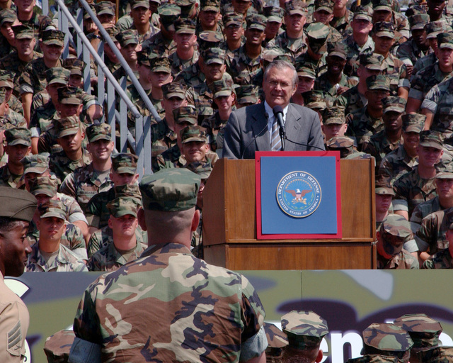 The Secretary of Defense, The Honorable Mr. Donald H. Rumsfeld, DOD, answers a Marine's question about the issues concerning the war on terrorism in the United States during his visit to Camp Pendleton. (DoD photo by Lance CPL. Jason S. Hughes) (Released)