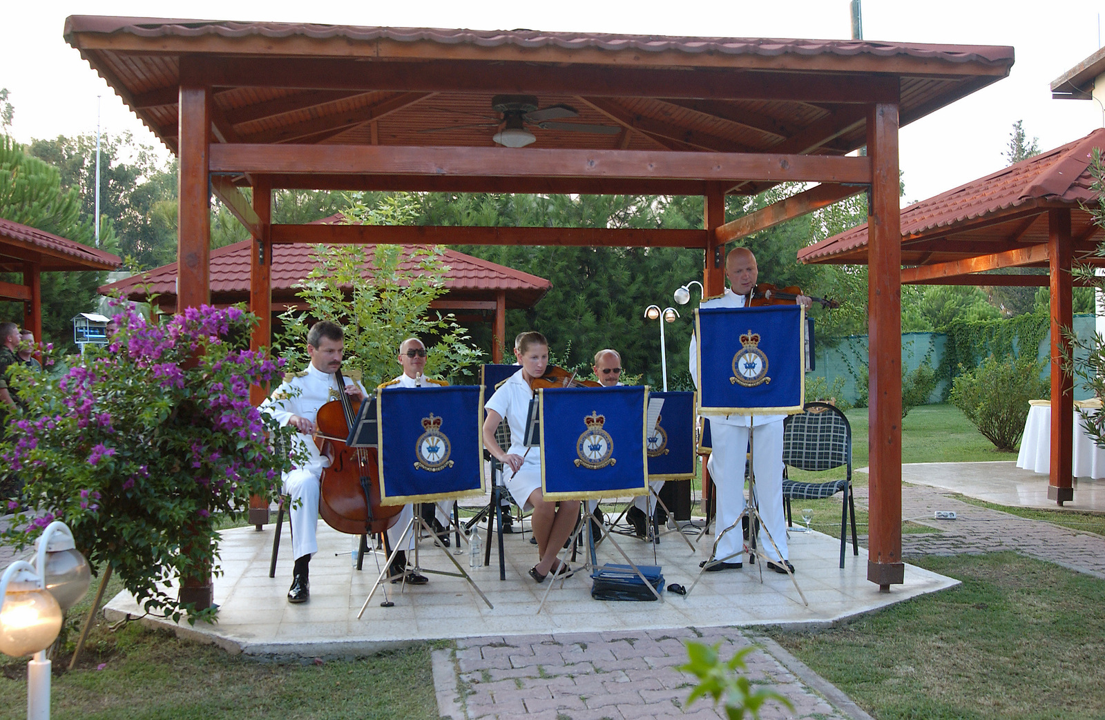 The Salon Orchestra of the Royal Air Force (RAF) plays at the Battle of Britain Observance held at Incirlik Air Base (AB), Turkey, during Operation NORTHERN WATCH