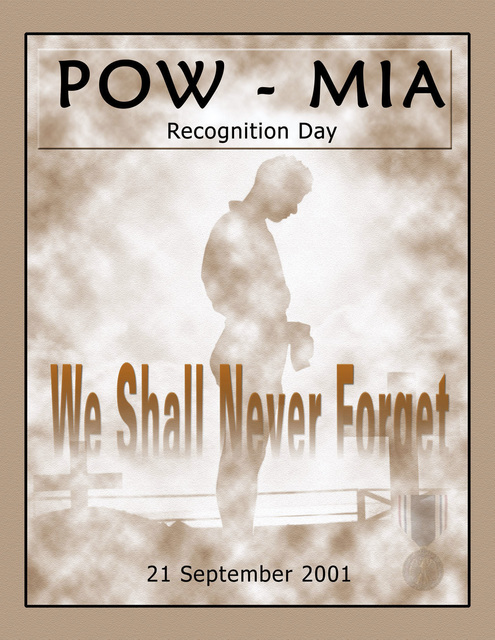 Poster art created for a ceremony held at Headquarters US Southern Command (USSOUTHCOM) for POW-MIA Recognition Day. Created by Felix Peguero-Luna, CIV, USA