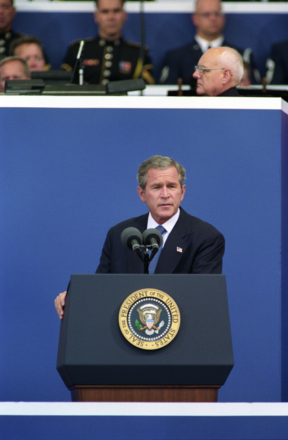President George W. Bush, speaks during a memorial commemoration ceremony of the first anniversary of the terrorist attack of Sept. 11, 2001, at the Pentagon, Washington, D.C., on Sept. 11, 2002.  OSD Package No. A07D-00622 (DOD PHOTO by Robert D. Ward) (Released)