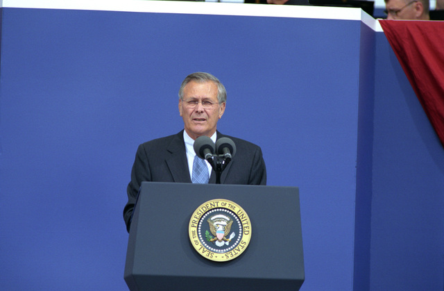 The Honorable Donald H. Rumsfeld, U.S. Secretary of Defense, speaks during a memorial commemoration ceremony of the first anniversary of the terrorist attack of Sept. 11, 2001, at the Pentagon, Washington, D.C., on Sept. 11, 2002.  OSD Package No. A07D-00622 (DOD PHOTO by Robert D. Ward) (Released)
