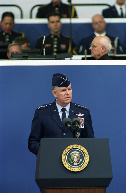 U.S. Air Force Chairman of the Joint Chiefs of STAFF., GEN. Richard B. Myers, speaks during a memorial commemoration ceremony of the first anniversary of the terrorist attack of Sept. 11, 2001, at the Pentagon, Washington, D.C., on Sept. 11, 2002.  OSD Package No. A07D-00622 (DOD PHOTO by Robert D. Ward) (Released)