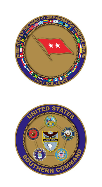 Coin design for the Deputy Commander for Reserve Affairs, US Southern Command (USSOUTHCOM) awarded for excellence. Created by Thomas Pattison, CIV, USA