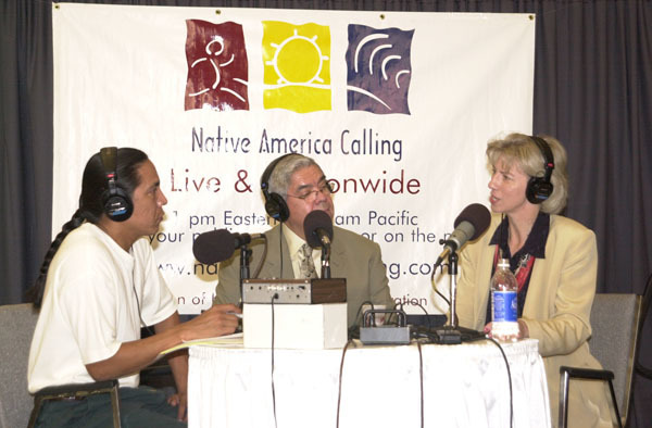 Secretary Gale Norton, far right, and Assistant Secretary for Indian Affairs Neal McCaleb, center, in Phoenix, Arizona, participating in Native America Calling, a public radio call-in program run by the Koahnic Broadcast Corporation, with links to the Internet, designed to promote national conversations ontribal issues