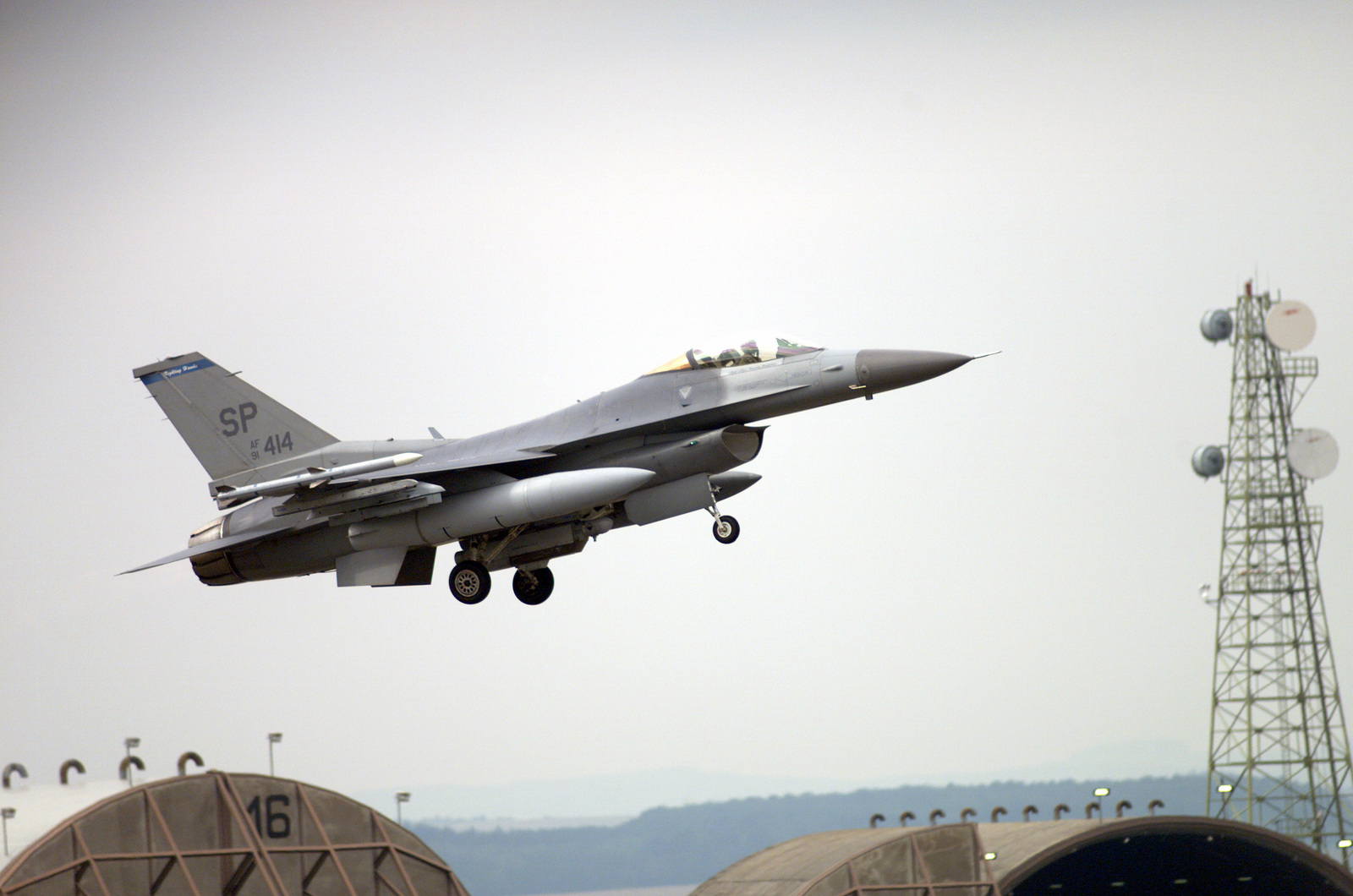 A US Air Force (USAF) F-16 Fighting Falcon from the 23rd Fighter Squadron (FS) takes off from Spangdahlem Air Base (AB), Germany on a routine training mission
