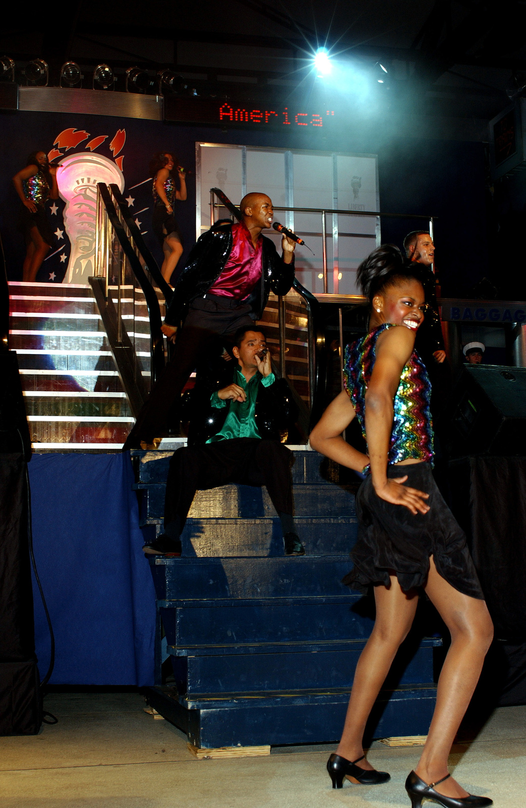 """The US Air Force (USAF) """"Tops in Blue"""" entertainment troupe performs a show entitled """"Spirit of America"""" which highlights the ethnic diversity and contributions made by Americans at Ramstein Air Base (AB), Germany"""
