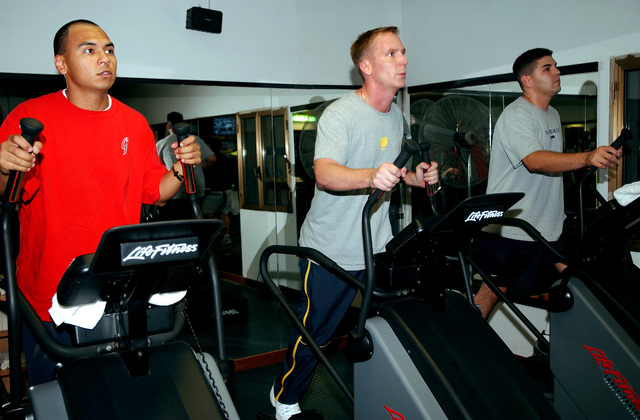 At the 31st Services Squadron fitness center, community members break a sweat working out on their treadmills at Aviano Air Base (AB), Italy