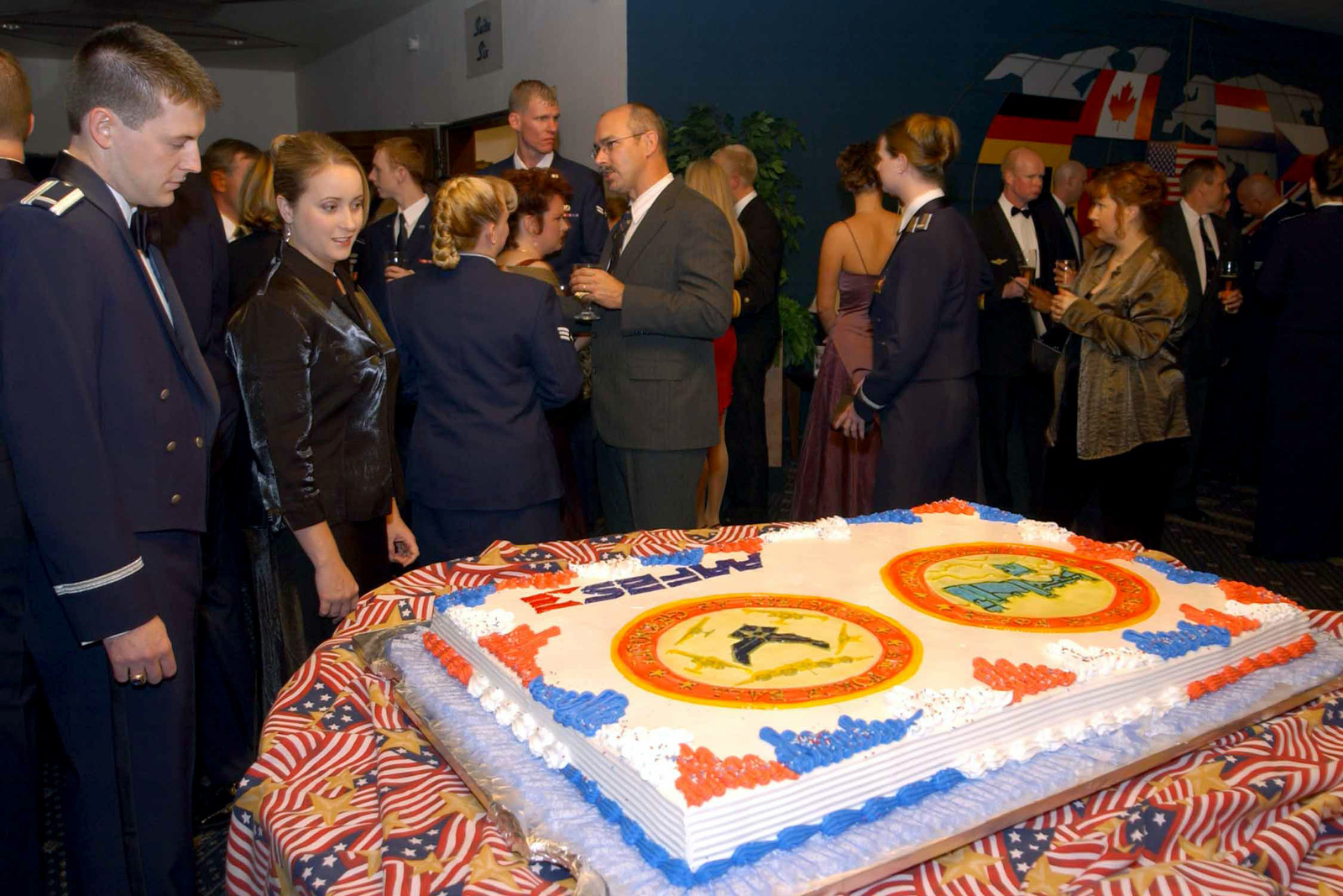 US Military personnel and members of the Ramstein Air Base Community gather to enjoy Food, Dancing, and various other forms of entertainment, during the US Air Force (USAF) Fifty-Fifth Birthday Ball Cerebration held at Ramstein Air Base (AB), Germany