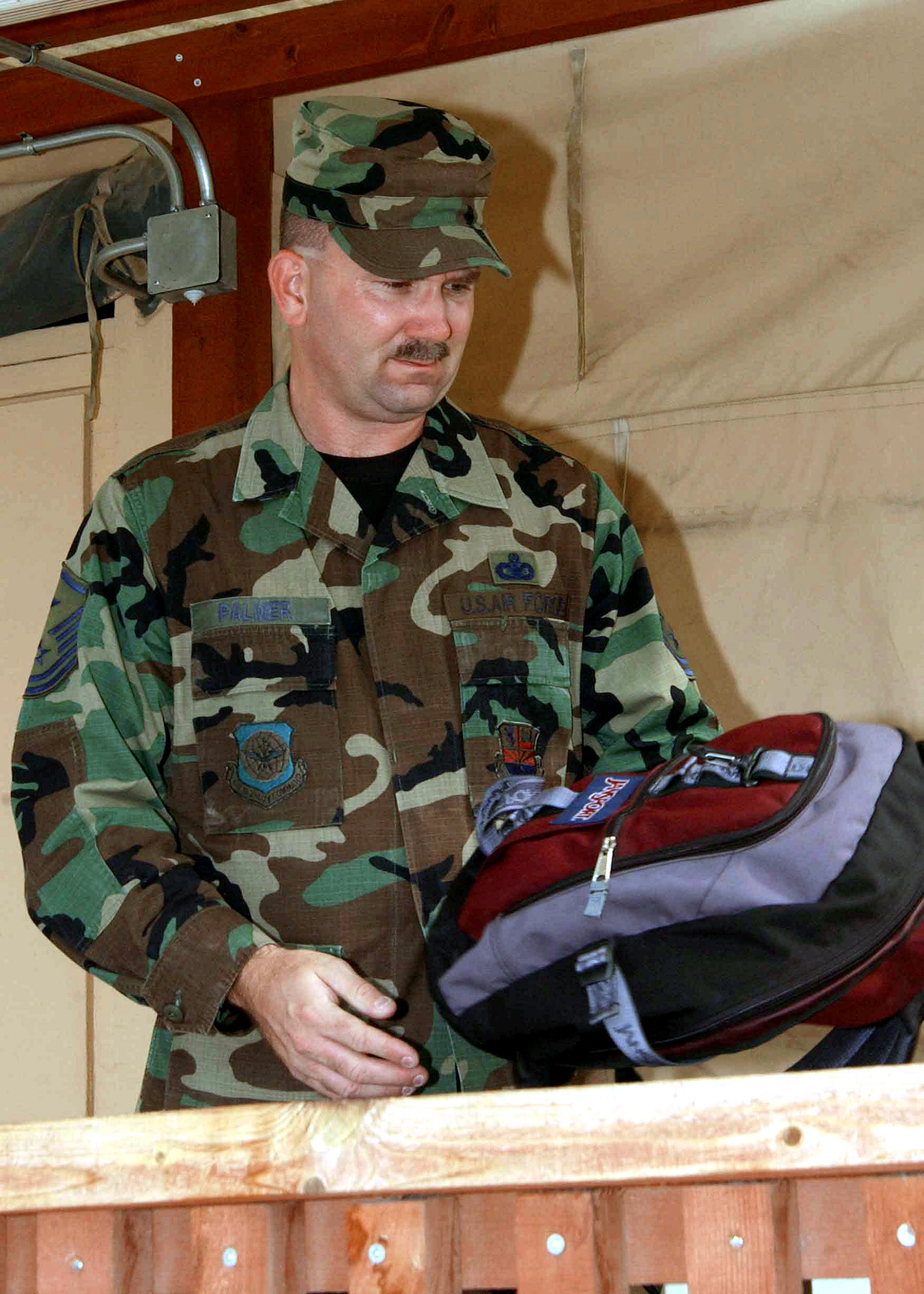 US Air Force (USAF) MASTER Sergeant (MSGT) Dan Palmer, First Sergeant, 161st Expeditionary Air Refueling Group (EARG), makes an inspection in tent city at Incirlik Air Base (AB), Turkey, while deployed in support of operation NORTHERN WATCH