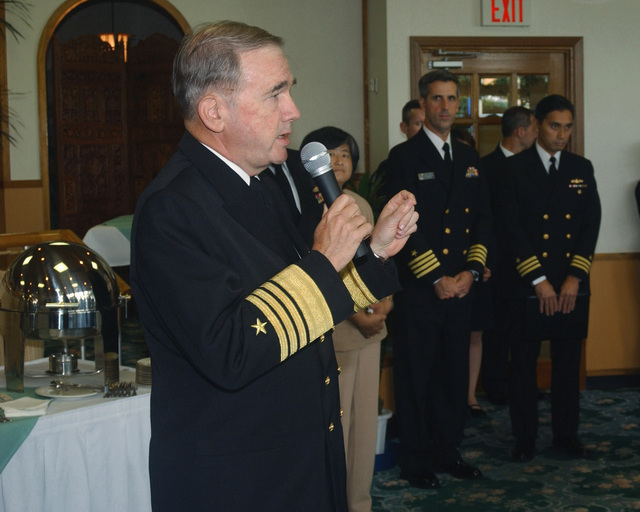 US Navy (USN) Admiral (ADM) Walter F. Doran, Commander in Charge US Pacific Fleet (CINCPACFLT), speaks about the ongoing positive relationship between the USN, the Japanese Maritime Self Defense Force (JMSDF), and citizens of Sasebo City, Japan (JPN), during a luncheon held at Fleet Activities Sasebo's (FAS) Harbor View Club in Japan