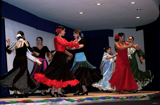 The Hispanic Dance Group Danza Hispana performs the Flamenco Dancers Dance during the Hispanic American Heritage Banquet, being held at the Enlisted Club at Ramstein Air Base (AB), Germany