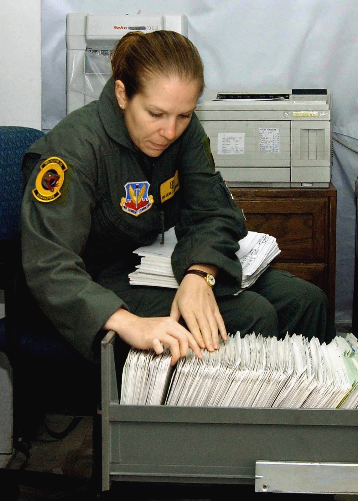 US Air Force (USAF) SENIOR Airmen (SRA) Leah Makowski, Medical Technician, deployed with the 78th Expeditionary Fighter Squadron (EFS), files medical records inside the medical clinic in tent city at Incirlik Air Base, Turkey, while deployed in support of Combined Task Force, Operation NORTHERN WATCH