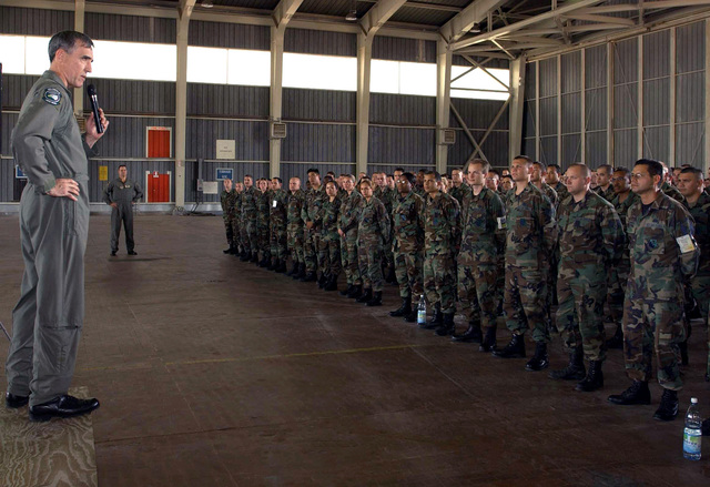 Deployed to Decimomanu, Sardinia, US Air Force (USAF) Brigadier General (BGEN) Mike Worden, the 31st Fighter Wing (FW) Commander, holds a commander's call and speaks to the personnel and outlines his expectations