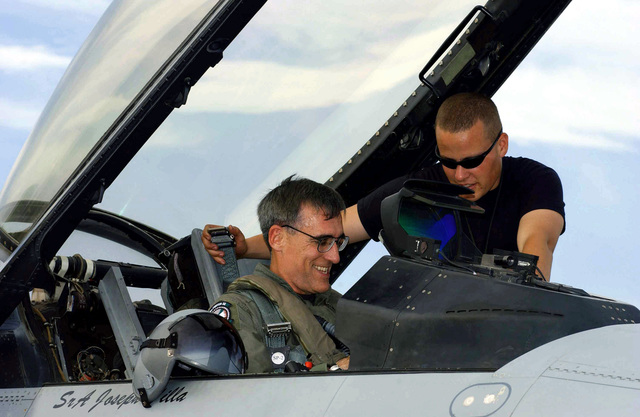 Deployed to Sardinia, US Air Force (USAF) Brigadier General (BGEN) Mike Worden, the 31st Fighter Wing (FW) Commander is assisted with his pre-flight start up by AIRMAN First Class (A1C) Joshua Stephens, a Crew CHIEF with the 31st Aircraft Maintenance Squadron (AMS)
