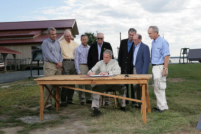 President George W. Bush Signs an Executive Order to Protect the Striped Bass and Red Drum Fish Populations