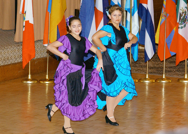 Dancers with the Association of Latin American Musicians (AMLA [Asociacion de Musicos Latino Americanos]) perform at Fort Dix's Hispanic Heritage Committee Luncheon held at the Club Dix