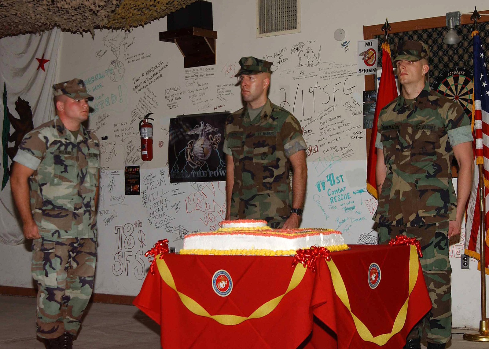 Tremendous Us Marine Corps Usmc Marines Prepare For The Traditional Cake Funny Birthday Cards Online Elaedamsfinfo