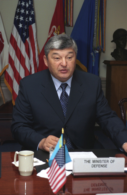 Close-up photo of Army General-Colonel Mukhtar Alytnbaev, Kazakhstan Minister of Defense, during a meeting at the Pentagon, Washington, D.C., on Nov. 14, 2002.  OSD Package No. A07D-00703 (DoD photo by Helene C. Stikkel) (Released)