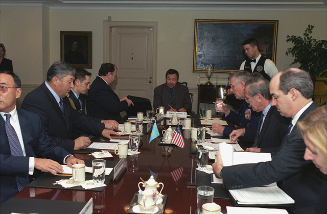 The Honorable Donald H. Rumsfeld (third from the right), U.S. Secretary of Defense, attends a meeting with Army General-Colonel Mukhtar Altytnbaev (second from the left), Kazakhstan Minister of Defense, at the Pentagon, Washington, D.C., on Nov. 14, 2002.  OSD Package No. A07D-00703 (DoD photo by Helene C. Stikkel) (Released)