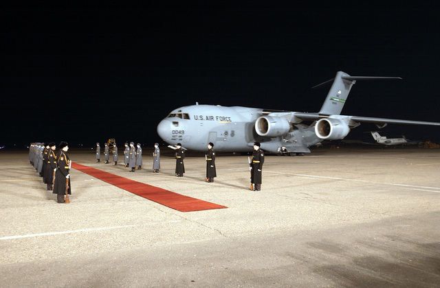 A US Air Force (USAF) C-17A Globemaster III, McChord Air Force Base (AFB), Washington (WA), with a crew from the 14th Airlift Squadron (AS), Charleston AFB, South Carolina (SC), taxies to the red carpet after landing in Tbilisi, Republic of Georgia. American military members are meeting with top military officials and the Georgian President to discuss the Georgia Train and Equip Program (GTEP). GTEP is a flexible, time phased training initiative that builds upon a strong military-to-military relationship developed between the US and the Republic of Georgia since the end of the Cold War, and further underscores US support for the Republic of Georgia's sovereignty, independence and...