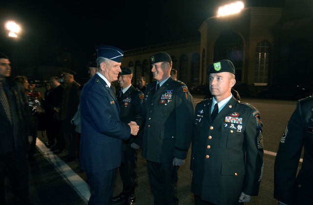 US Air Force (USAF) General (GEN) Richard B. Myers, Chairman of the Joint Chiefs of STAFF (JCS), is met upon his arrival in Tbilisi, Republic of Georgia by USA Major (MAJ) David Grosso, Commander of the Georgia Train and Equip Program (GTEP). GTEP is a flexible, time phased training initiative that builds upon a strong military-to-military relationship developed between the US and the Republic of Georgia since the end of the Cold War, and further underscores US support for the Republic of Georgia's sovereignty, independence and territorial integrity
