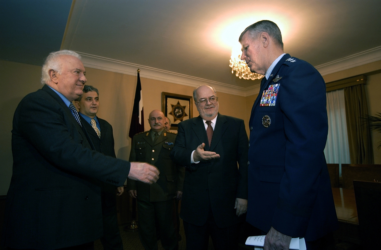 The Honorable Richard Miles (center), US Ambassador to the Republic of Georgia, introduces US Air Force (USAF) General (GEN) Richard B. Myers (right), Chairman of the Joint Chiefs of STAFF (JCS), to Georgian President Eduard Shevardnadze. General Myers is meeting with top Georgian military officials and President Shevardnadze to discuss the Georgia Train and Equip Program (GTEP). GTEP is a flexible, time phased training initiative that builds upon a strong military-to-military relationship developed between the US and the Republic of Georgia since the end of the Cold War, and further underscores US support for the Republic of Georgia's sovereignty, independence and territorial integrity