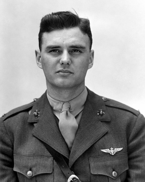 Official Portrait of US Marine Corps (USMC) First Lieutenant (1LT) Eugene A. Trowbridge, taken at San Diego, California (CA), April 30, 1942. 1LT Trowbridge is an ace pilot and is credited with 12 kills
