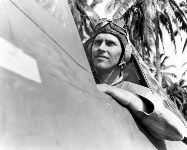 World War II (WWII) area photo of US Marine Corps (USMC) First Lieutenant (1LT) G. E. Dawkins, Solomon Islands, 1943