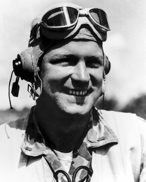 "World War II (WWII) area photograph of US Marine Corps (USMC) First Lieutenant (1LT) Robert M. Hanson, Marine Fighter Squadron 215 (VMF-215) ""Flying Corsairs"" taken at Bougainville, January 28,1944. 1LT Hanson was awarded the Medal of Honor and is an Ace Pilot credited with 25 kills. His home is 31 Brooks Avenue, Newtonville, Massachusetts"