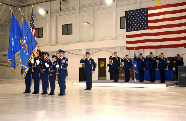 At the December Drill meet the US Air Force (USAF) 174th Color Guard presents the colors during the playing of the National Anthem. During this Drill, unit members received the Defense of Liberty Medal for the Wings' efforts during 9/11. The Defense of Liberty Medal, presented only once, created by NY Governor George E. Pataki specifically for those who directly responded to the events of September 11, 2001