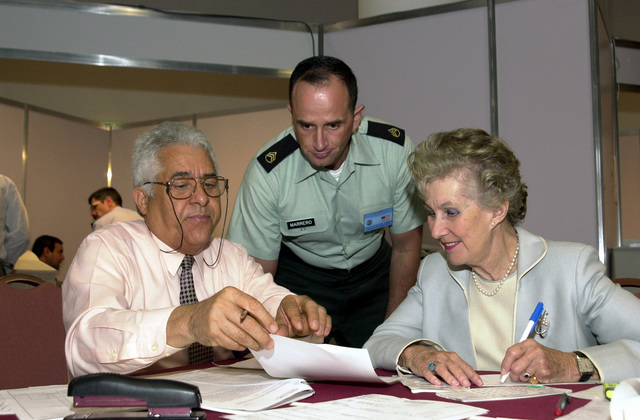 Participants go over paper work during the Mid-Planning Conference for Peacekeeping Operations South 03 (PKO South 03), held at the Sheraton Hotel, Buenos Aires, Argentina (ARG). Pictured left-to-right are Mr. Roberto Roski, US Army South (USARSO) Budget Analyst, US Army (USA) STAFF Sergeant (SSG) Angel Marrerro, Non-Commissioned Officer In Charge (NCOIC), USARSO Tactical Exercise Division, and Dame Margaret Anstee, role-playing as the Special Representative of the Secretary General