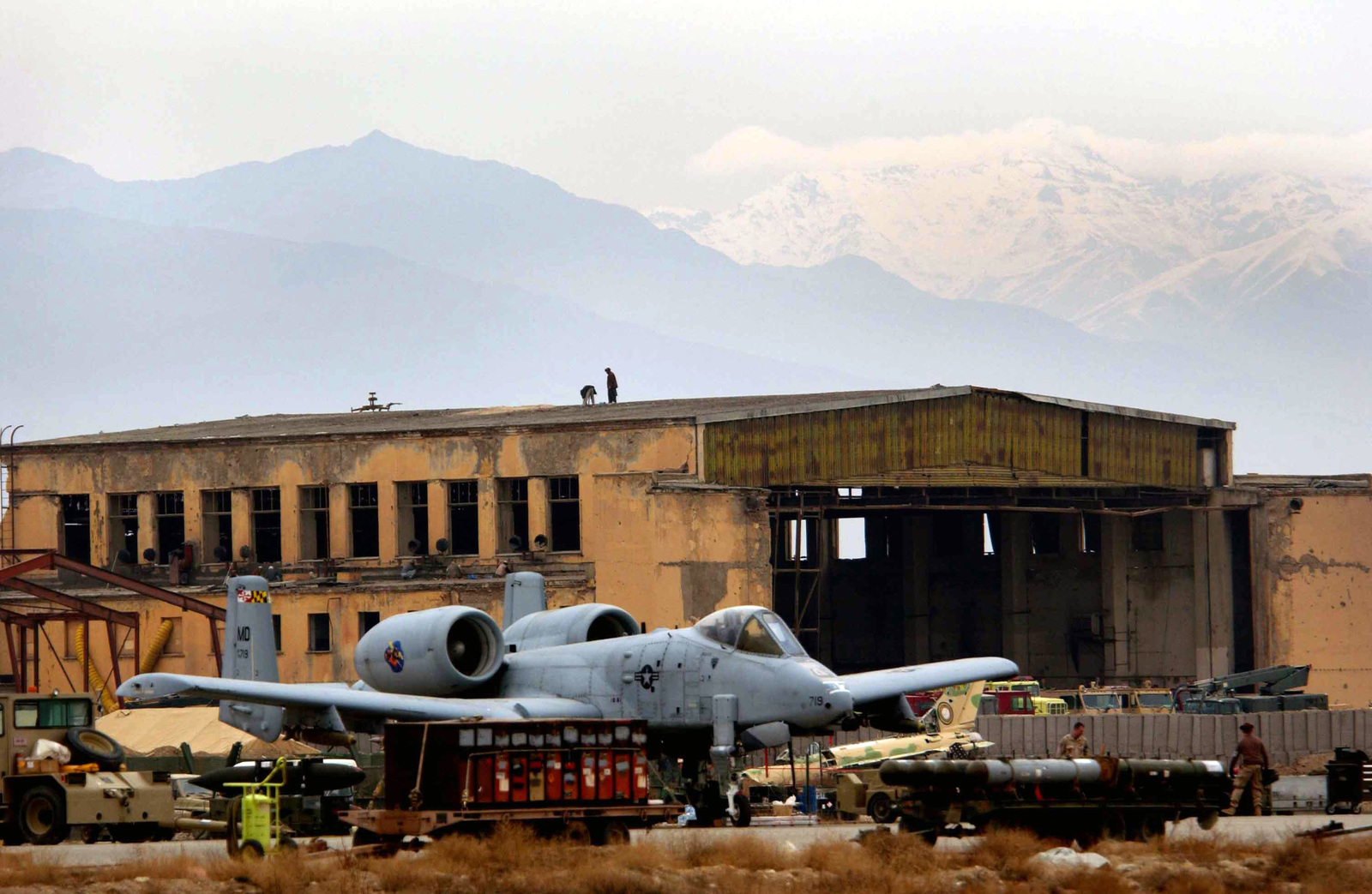 A US Air Force (USAF) A-10 Thunderbolt sits on the ramp at Bagram Air Base (AB), Afghanistan, in support of Operation ENDURING FREEDOM - U.S. National Archives Public Domain Search