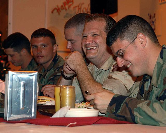 Christmas day, Comedian Drew Carey met and had lunch with personnel stationed at a forward-operating location, during Operation ENDURING FREEDOM