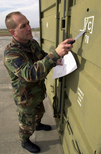 US Air Force (USAF) Technical Sergeant (TSGT) Robert Tarbox, 39th Maintenance Squadron (MXS), inspects and repairs an International Organization for Standardization (ISO) container at Incirlik Air Base (AB), Turkey.  USAF TSGT Tarbox wrote the instruction manual so USAF personnel can perform regular maintenance on the ISO containers instead of hiring civilian contractors to repair them.  The Innovative Development through Employee Awareness (IDEA) Program rewarded him $10,000 for his suggestions