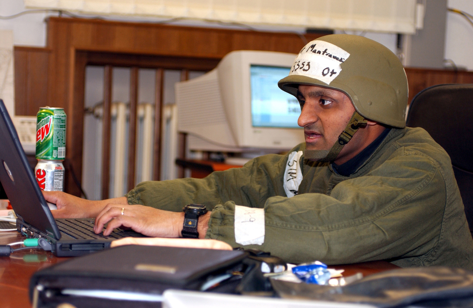 US Air Force (USAF) Captain (CAPT) Srikant Mantravadi, Support Flight Commander, 31st Communications Squadron (CS), inputs night shift information to update the Command and Support STAFF (CSS) during the LOCAL SALTY NATION exercise. The LSN prepares members of the 31st Fighter Wing (FW) for an upcoming Tactical Evaluation