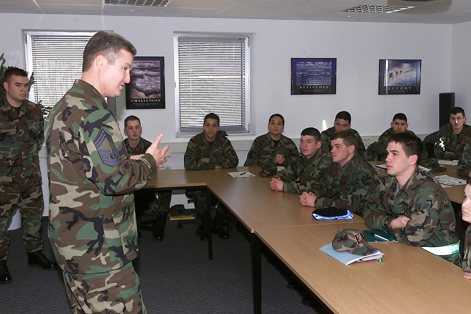 US Air Force (USAF) CHIEF MASTER Sergeant of the Air Force (CMSAF) Gerald Murray speaks to students at the Pitsenbarger AIRMAN Leadership School during a visit to Spangdahlem Air Base, Germany, where he discussed issues important to enlisted personnel