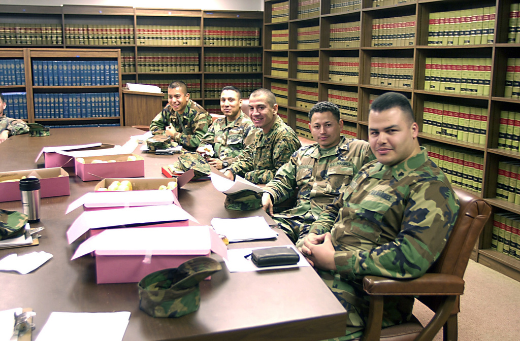 US Marine Corps (USMC) reservists are briefed on power of attorney and other legal issues, by US Air Force (USAF) legal personnel in the Judge Advocate facilities at Los Angeles Air Force Base (AFB)