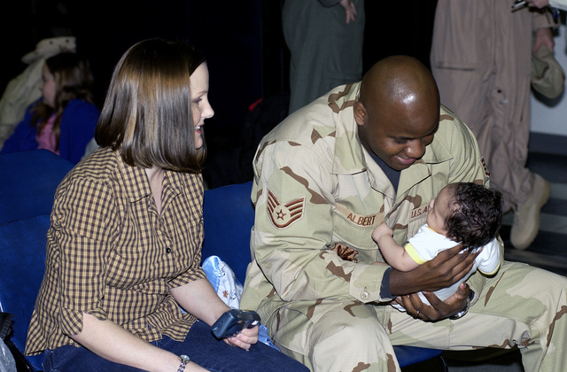 US Air Force (USAF) STAFF Sergeant (SSGT) Kirton Albert, assigned to the 757th Aircraft Maintenance Squadron (AMS) spends time with his wife Debra and newborn son Kaleb, at Nellis Air Force Base (AFB), Nevada, before leaving for an upcoming deployment