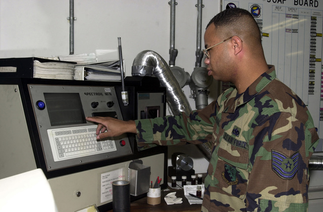 US Air Force (USAF) Technical Sergeant (TSGT) Marcel Norman, Non-Commissioned Officer in Charge (NCOIC), Non Destructive Inspection Lab (NDI), 31st Maintenance Squadron, Aviano Air Base (AB), Italy, runs a diagnostics program on the SPECTROIL M/N Deployable Oil Analysis Spectrometer to check the integrity of the machine. The machine is part of the US Department of Defenses Joint Analysis Oil Program (JOAP) used to detect damaging but barely visible metal chips in jet engine oil