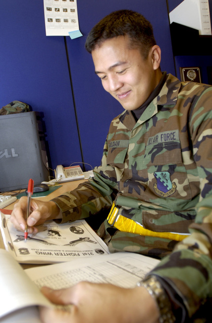 US Air Force (USAF) STAFF Sergeant (SSGT) Edmund Roldan, Maintenance Data System Analyst, 510th Aircraft Munitions Unit (AMU), 31st Maintenance Operations Squadron (MOS), collects information for projecting spare aircraft requirements for the base-flying program. The spare aircraft will be assimilated between the 510th and 555th Fighter Squadrons (FS)