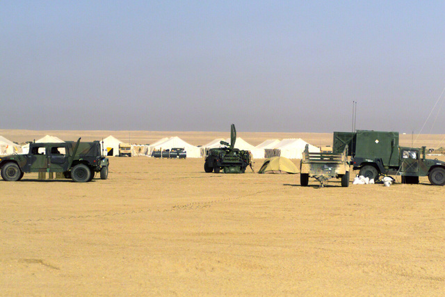 A general view of Camp Coyote in Kuwait surrounded by a vast landscape of sand
