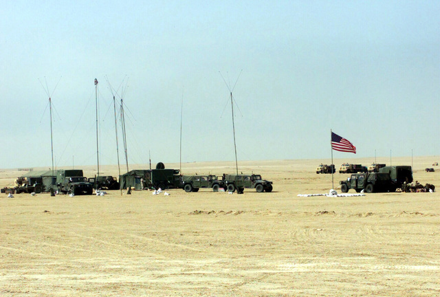 The Combat Operations Center (COC) of the 1ST Battalion 7th Marines Regiment, Bravo Company, Twentynine Palms, California, at Camp Coyote, Kuwait during Operation ENDURING FREEDOM