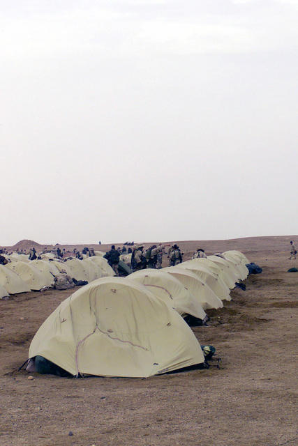 Personal tents from the 2nd Battalion, 5th Marine Regiment, 1ST Marine Division, from Camp Pendleton, California, in rows at Camp Coyote in northern Kuwait, during Operation ENDURING FREEDOM