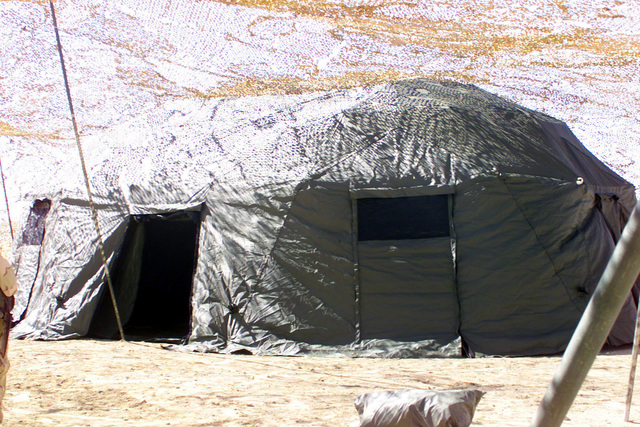The US Marine Corps (USMC) Headquarters Command Post for the 5th Marine Regiment, at Camp Coyote in northern Kuwait (KWT), in support of Operation ENDURING FREEDOM